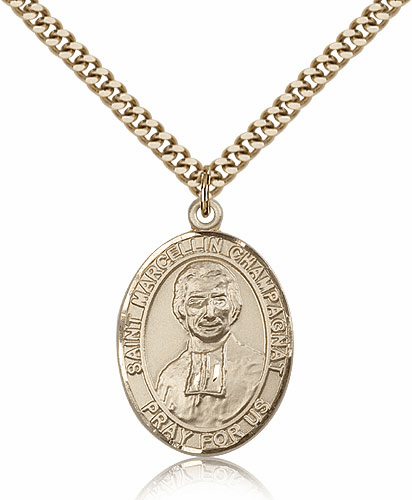 Bliss Mfg St Marcellin Champagnat Gold-Filled Patron Saint Medal