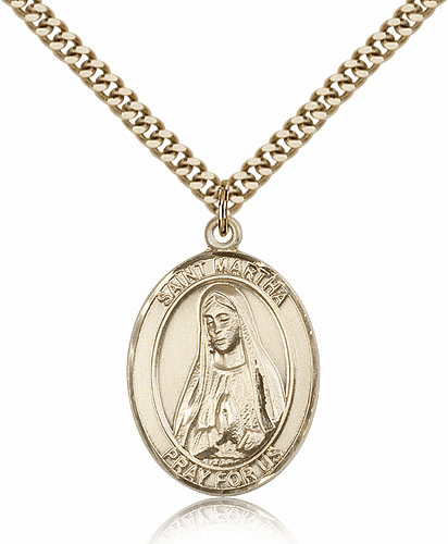 Bliss Manufacturing St Martha Gold Filled Patron Saint Medal Necklace