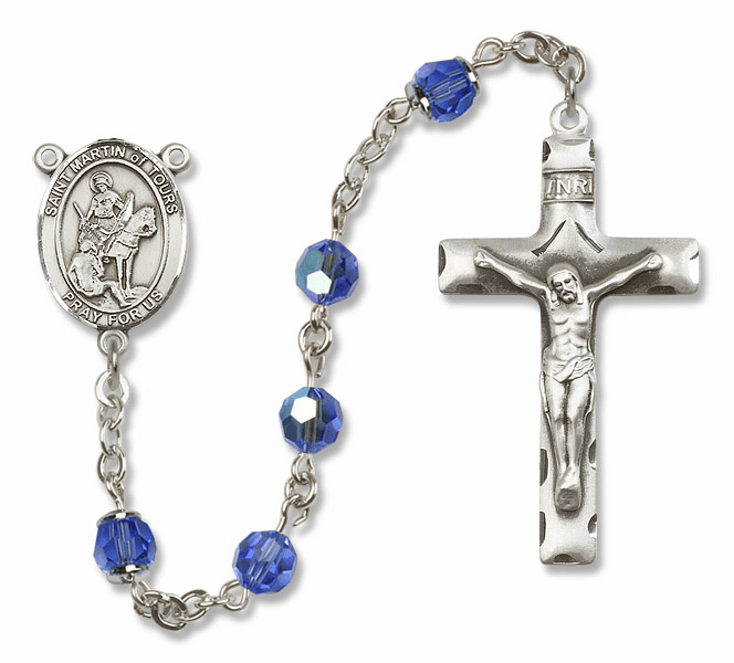 Bliss Mfg St Martin of Tours Sterling Silver Sapphire Swarovski Rosary