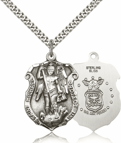 Bliss Mfg St Michael Air Force Large Shield Pewter Patron Saint Necklace