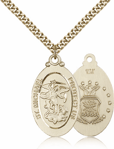 Bliss Mfg St Michael Air Force Patron Saint Gold Filled Medal Necklace Necklace
