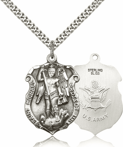 Bliss Mfg St Michael Army Large Shield Silver-filled Patron Saint Necklace