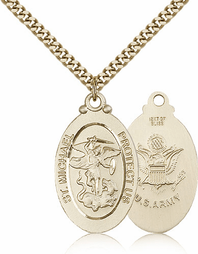 Bliss Mfg St Michael Gold Filled Army Military Patron Saint Medal Necklace Necklace