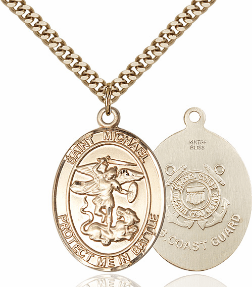 Bliss Mfg St Michael Gold Filled Coast Guard Patron Saint Medal Necklace