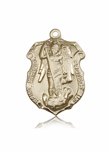 Bliss Mfg St Michael  Large Shield 14kt Gold Saint Pendant