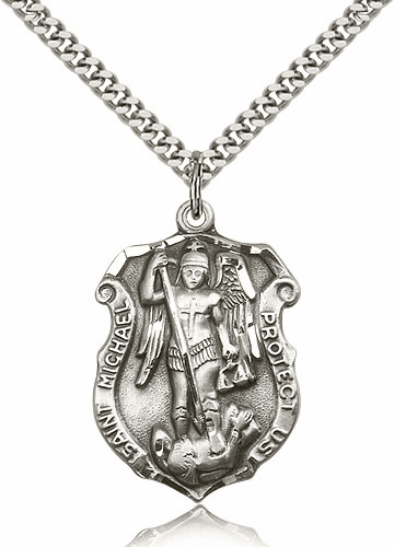 Bliss Mfg St Michael  Large Shield Sterling Silver Necklace