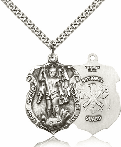 Bliss Mfg St Michael National Guard Large Shield Silver-filled Patron Saint Necklace