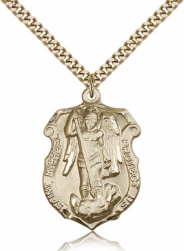 Bliss Mfg St Michael Navy Large Shield 14kt Gold-filled Saint Necklace
