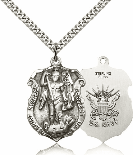 Bliss Mfg St Michael Navy Large Shield Silver-filled Patron Saint Necklace