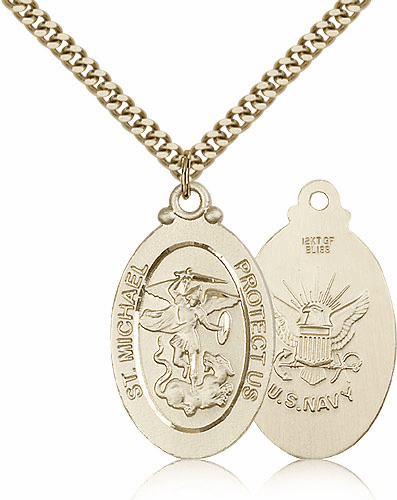 Bliss Mfg St Michael Navy Military Patron Saint Medal Necklace