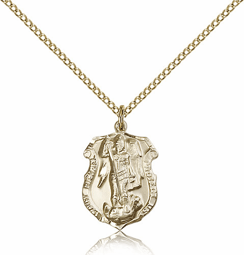 Bliss Mfg St Michael  Shield 14kt Gold-filled Saint Necklace