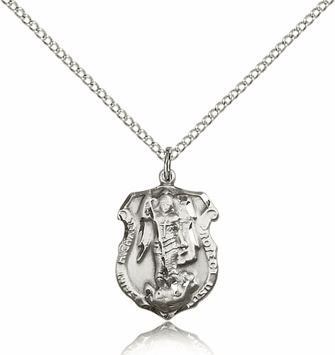 Bliss Mfg St Michael  Shield Silver-filled Patron Saint Necklace
