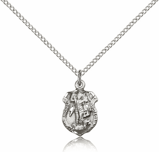 Bliss Mfg St Michael  Shield Sterling Silver Necklace