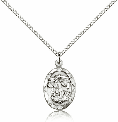 Bliss Mfg St Michael Sterling Silver Medal Pendant Necklace