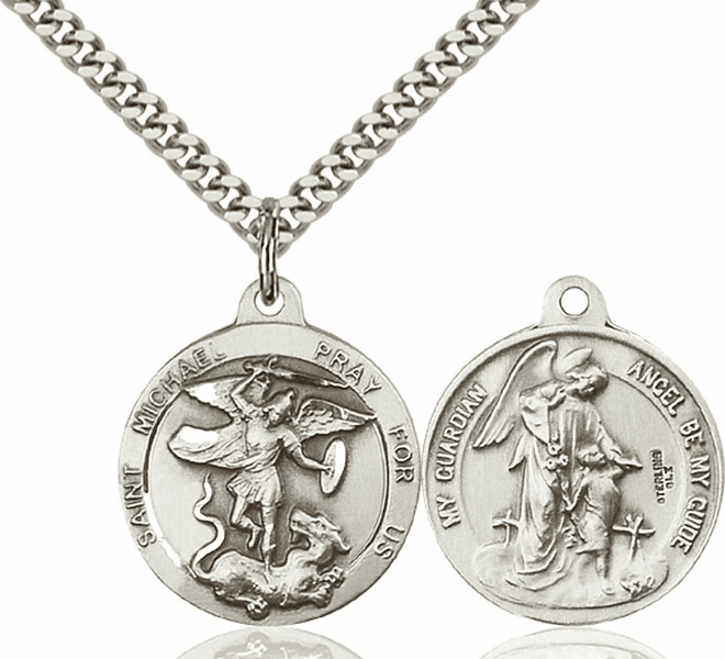 Bliss St Michael and Guardian Angel Medal Necklace