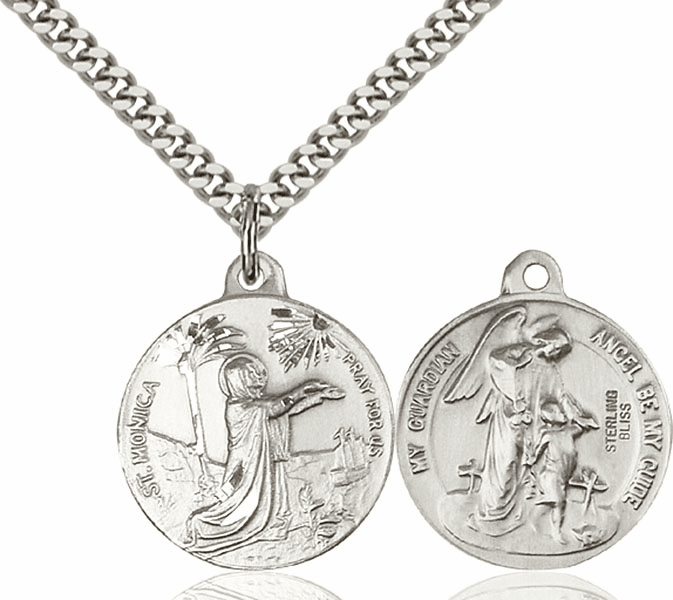 Bliss St Monica and Guardian Angel Medal Necklace