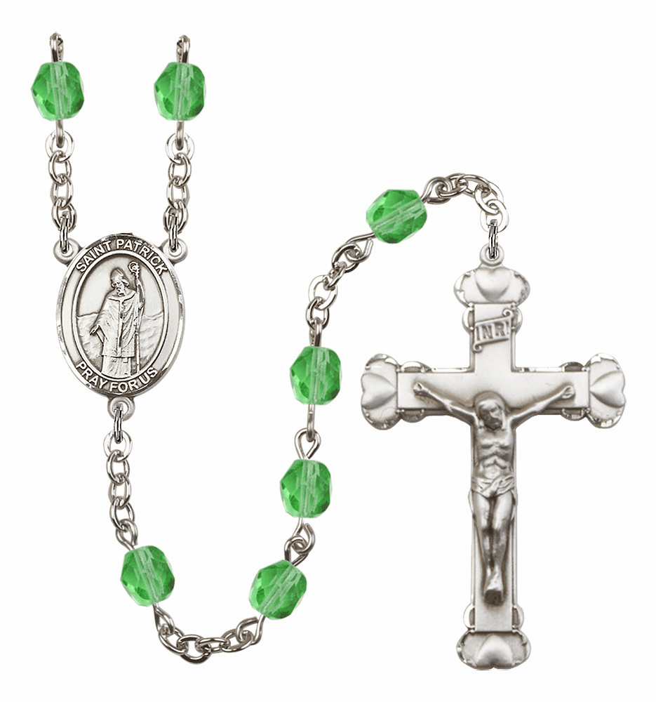 Bliss Mfg St Patrick August Peridot Birthstone Heart Rosary