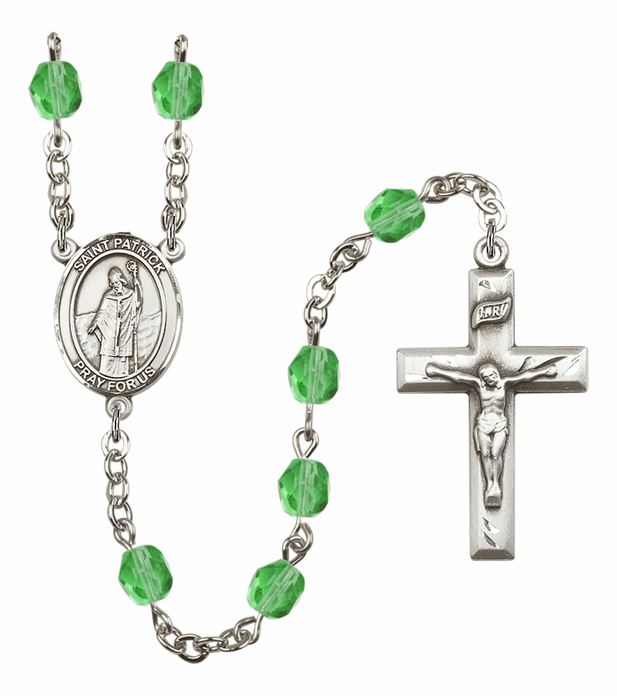 Bliss Mfg St Patrick August Peridot Birthstone Rosary