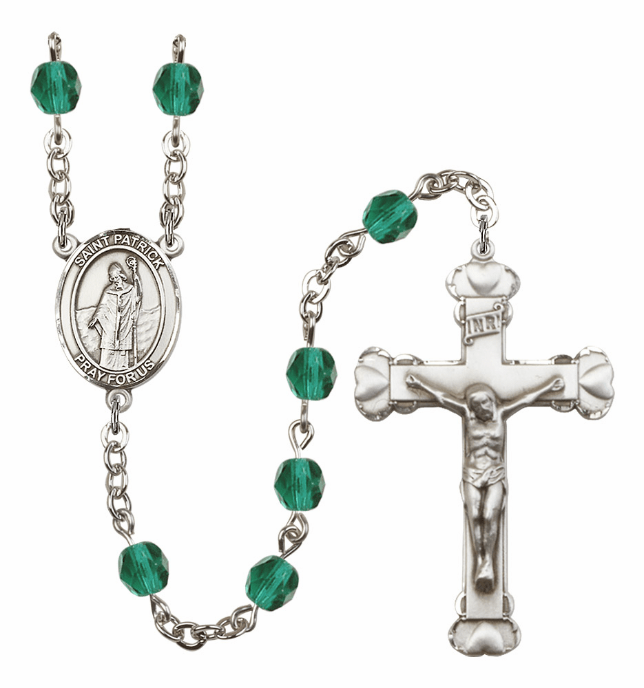 Bliss Mfg St Patrick December Zircon Birthstone Heart Rosary