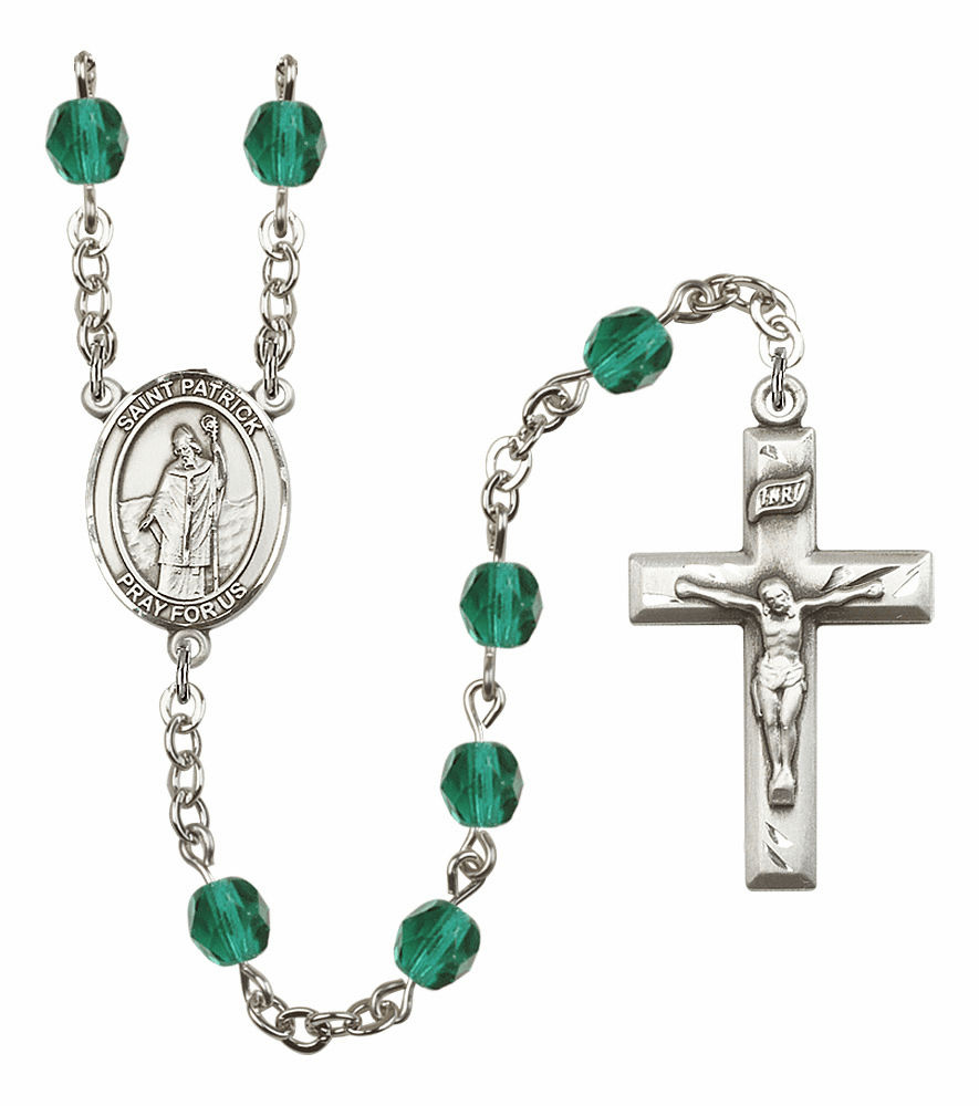 Bliss Mfg St Patrick December Zircon Birthstone Rosary
