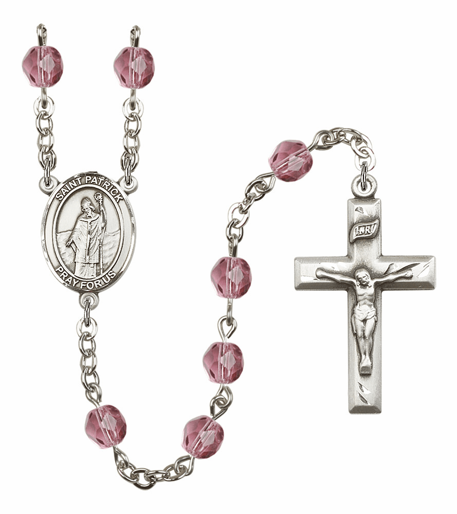 Bliss Mfg St Patrick February Amethyst Birthstone Rosary