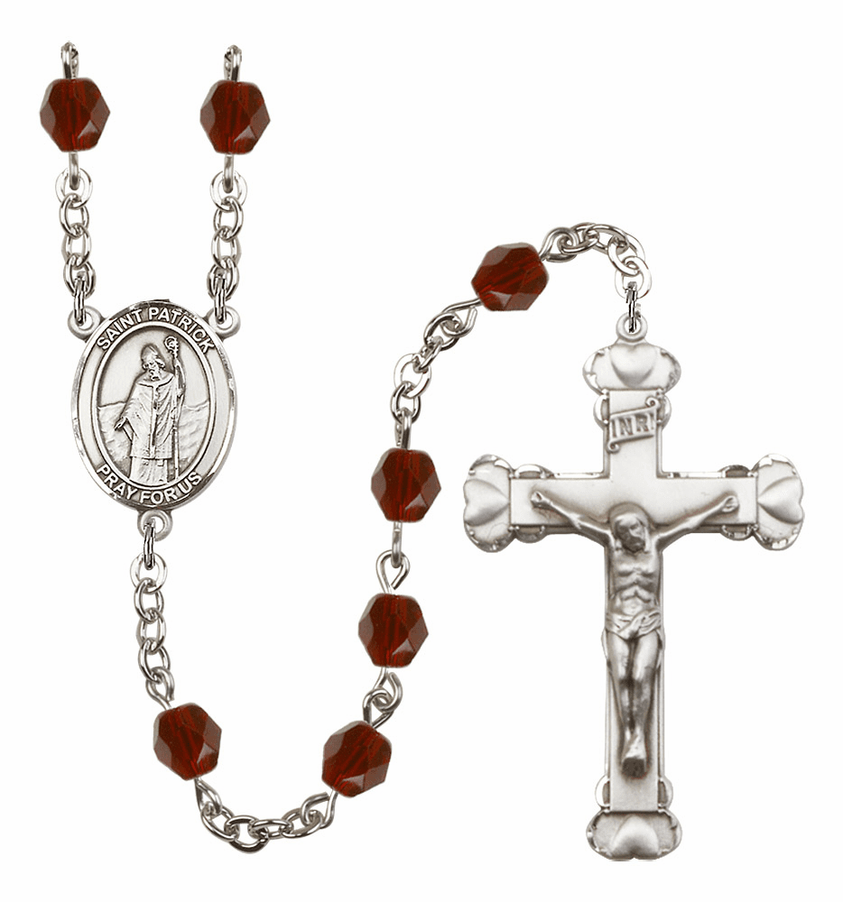 Bliss Mfg St Patrick January Garnet Birthstone Heart Rosary