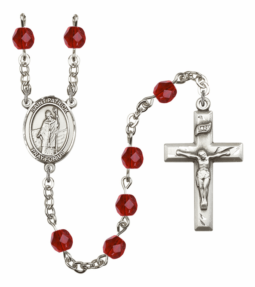 Bliss Mfg St Patrick July Ruby Birthstone Rosary