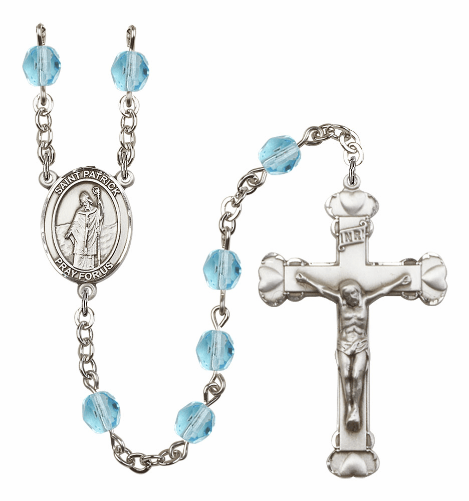 Bliss Mfg St Patrick March Aqua Birthstone Heart Rosary