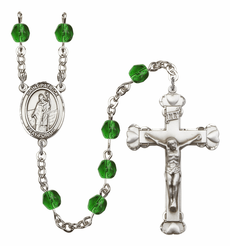 Bliss Mfg St Patrick May Emerald Birthstone Heart Rosary