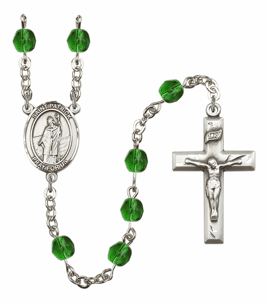 Bliss Mfg St Patrick May Emerald Birthstone Rosary