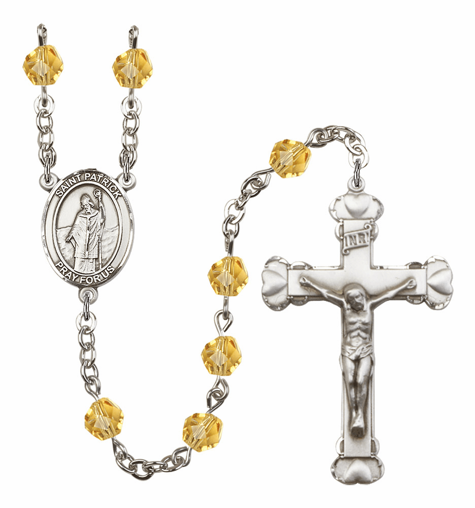 Bliss Mfg St Patrick November Topaz Birthstone Heart Rosary