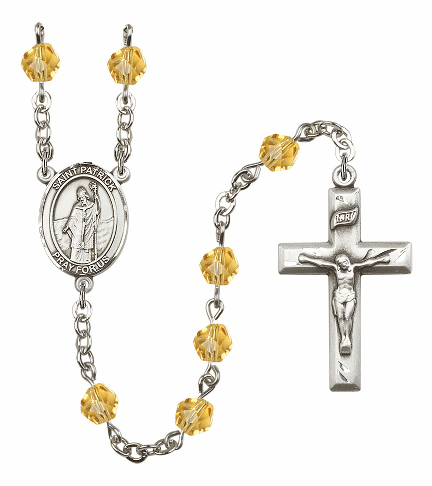 Bliss Mfg St Patrick November Topaz Birthstone Rosary