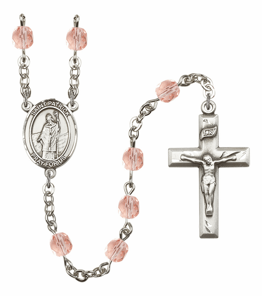Bliss Mfg St Patrick October Rose Birthstone Rosary