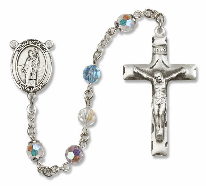 Bliss Mfg St Patrick Sterling Silver Multi-Color Swarovski Rosary