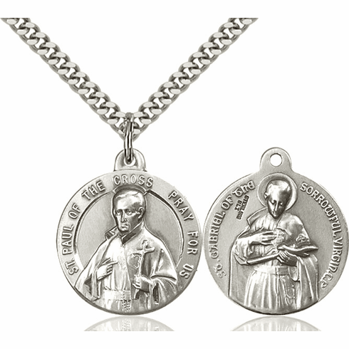 Bliss St Paul of the Cross and St Gabriel of the Blessed Medal Necklace