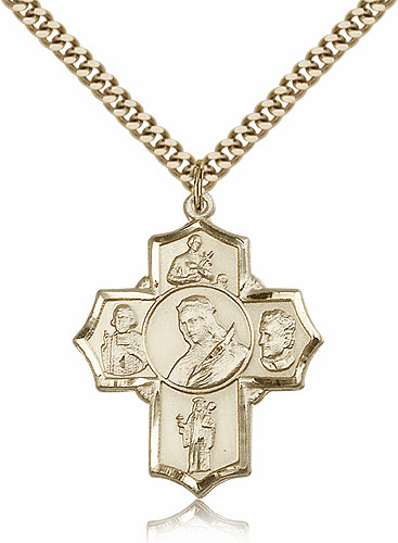 Bliss Mfg. St Philomena 5-Way Patron Saint 14kt Gold-Filled Cross Medal