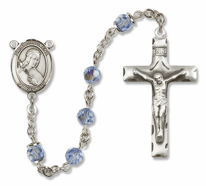 "Bliss Mfg St Philomena Sterling Silver Patron Saint  Swarovski Crystal Rosary - ""More Options"""