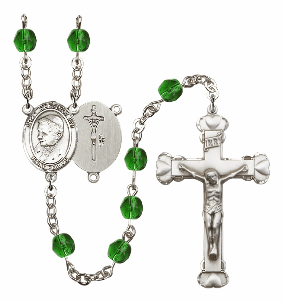 Bliss Mfg St Pope Benedict XVI Heart Birthstone Crystal Rosary  - More Colors