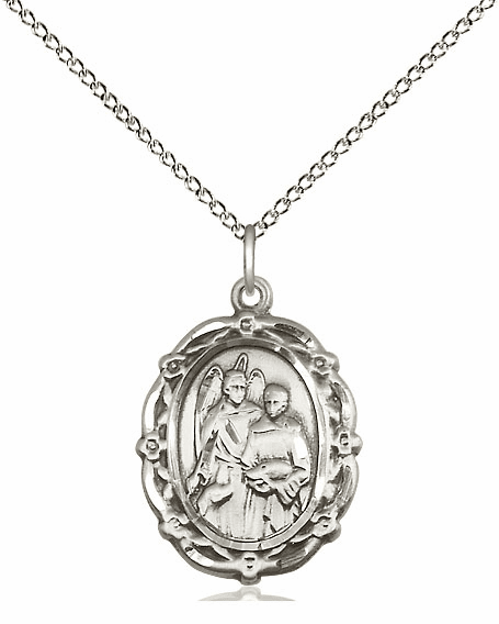 Bliss Mfg St Raphael the Archangel Sterling Silver Medal Pendant Necklace
