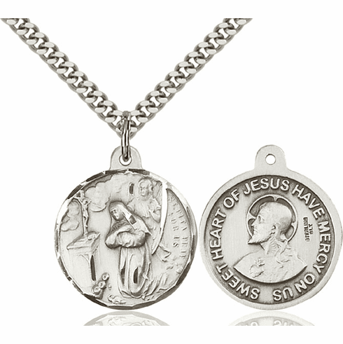 Bliss St Rita of Cascia and Sacred Heart Medal Necklace