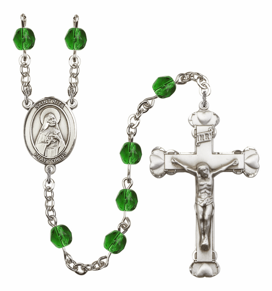 "Bliss Mfg St Rita of Cascia Heart Birthstone Crystal Prayer Rosary  - ""More Colors"""