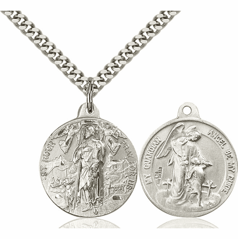 Bliss St Roch and Guardian Angel Medal Necklace