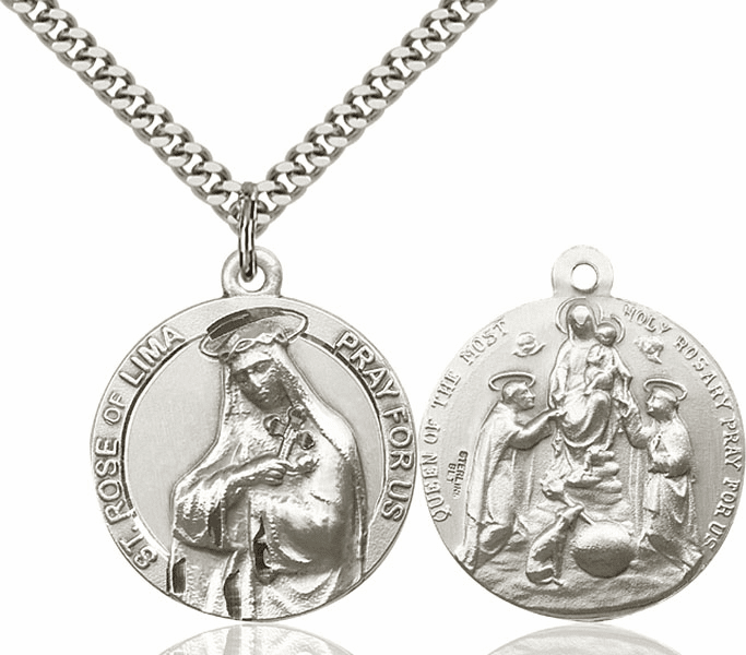 Bliss Mfg St Rose of Lima and Holy Family Sterling Medal Necklace