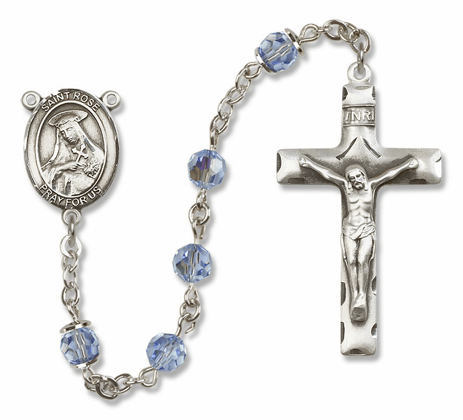 "Bliss Mfg St Rose of Lima Sterling Silver Patron Saint  Swarovski Crystal Rosary - ""More Options"""