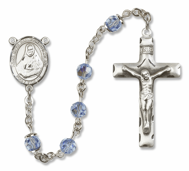 "Bliss Mfg St Rose Philippine Duchesne Sterling Silver Patron Saint  Swarovski Crystal Rosary - ""More Options"""