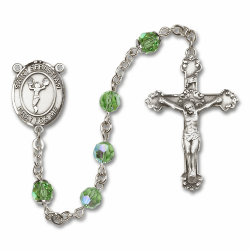 "Bliss Mfg St Sebastian Cheerleading Swarovski Crystal Sterling Silver Catholic Saint Rosary - ""More Options"""