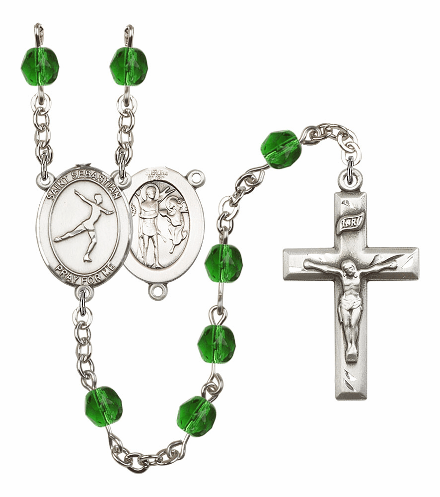 "Bliss Mfg St Sebastian Figure Skating Birthstone Crystal Prayer Rosary  - ""More Colors"""