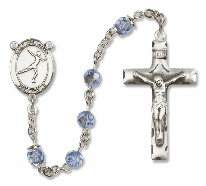 "Bliss Mfg St Sebastian Figure Skating Sterling Silver Patron Saint  Swarovski Crystal Rosary - ""More Options"""