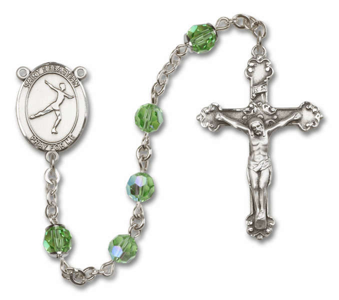 "Bliss Mfg St Sebastian Figure Skating Swarovski Crystal Sterling Silver Catholic Saint Rosary - ""More Options"""