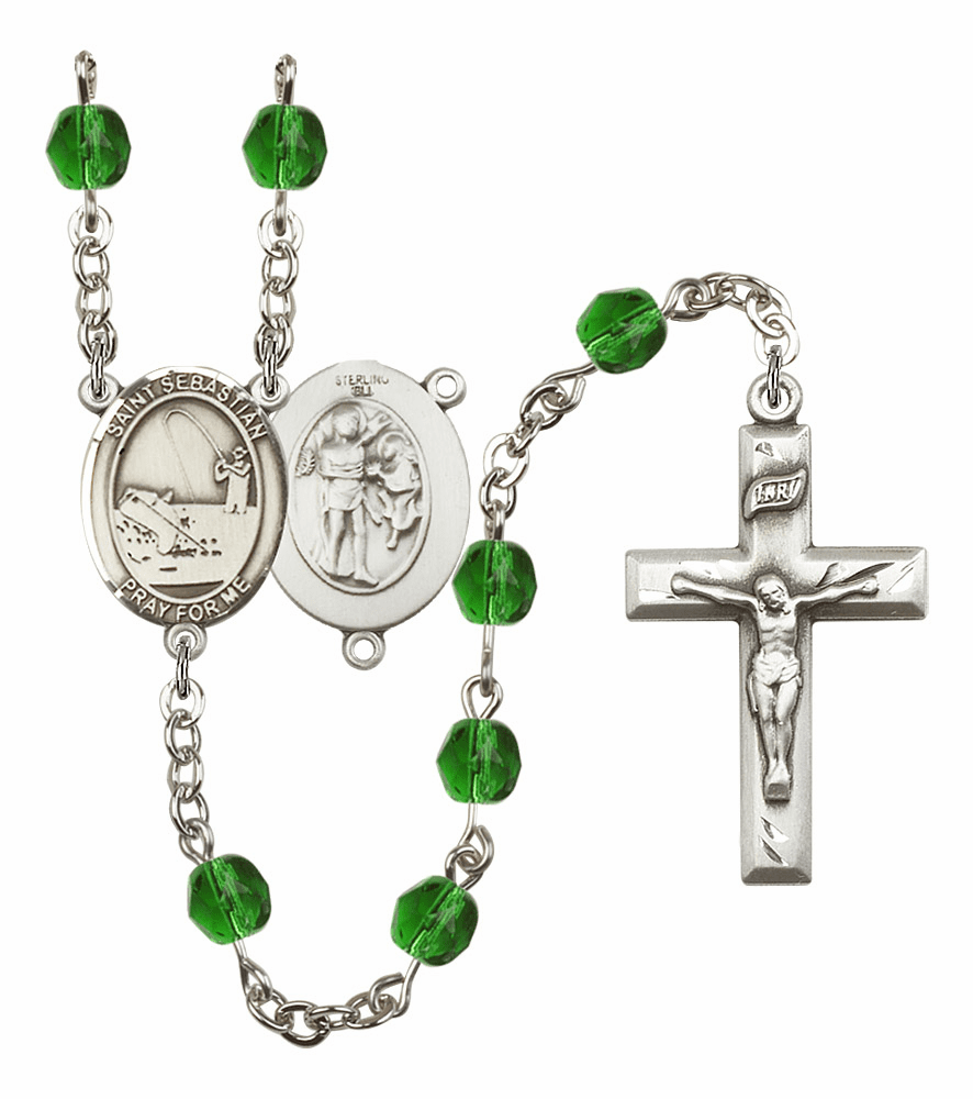 "Bliss Mfg St Sebastian Fishing Birthstone Crystal Prayer Rosary  - ""More Colors"""